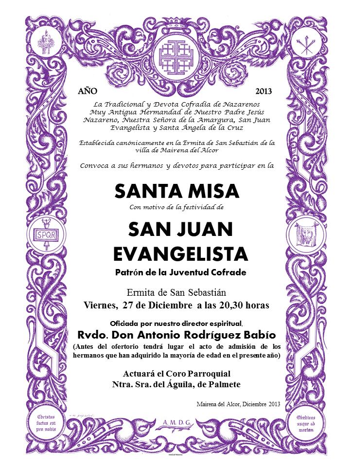 Cartel Misa de San Juan 2013