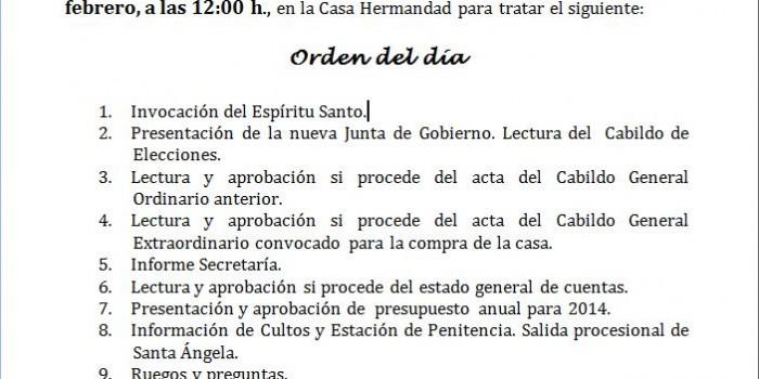 CITACIÓN A CABILDO GENERAL ORDINARIO DE CUENTAS, CULTOS Y SALIDA PROCESIONAL