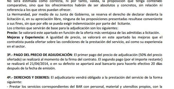 LICITACIÓN PARA ADJUDICACIÓN CASETA DE FERIA 2014