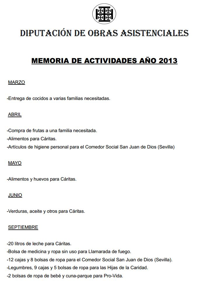 memoria activiades bolsa caridad 2013