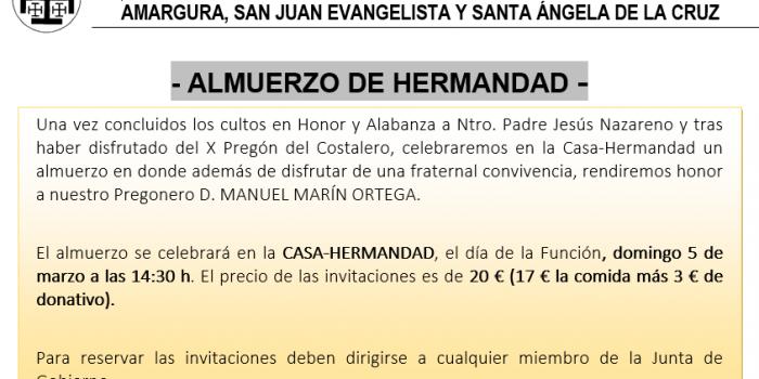 ALMUERZO DE HERMANDAD