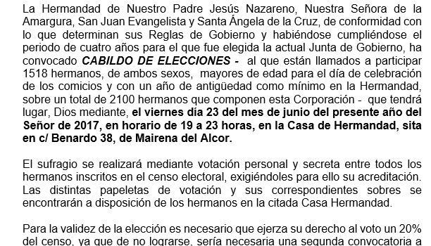 CONVOCATORIA DE CABILDO DE ELECCIONES EN LA HERMANDAD DE NUESTRO PADRE JESÚS NAZARENO