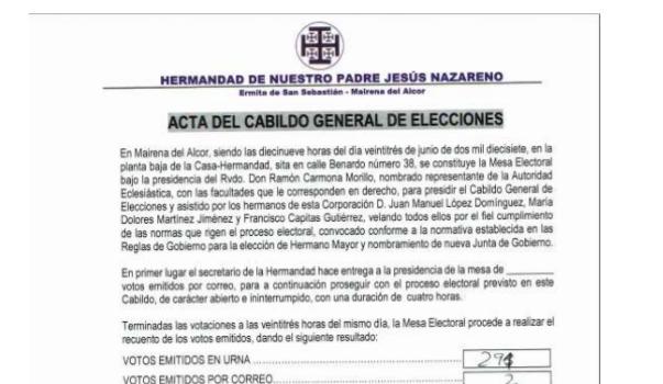 05/07/2017 – COMUNICACIÓN A LOS HERMANOS SOBRE EL PROCESO  ELECTORAL SEGUIDO POR ESTA 05/HERMANDAD PARA LA ELECCIÓN  DE HERMANO MAYOR