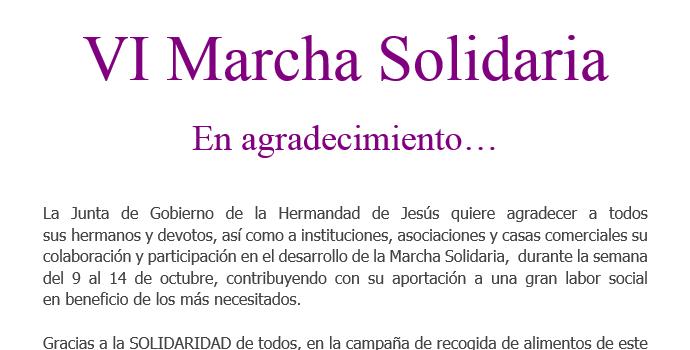 VI Marcha Solidaria. En agradecimiento…