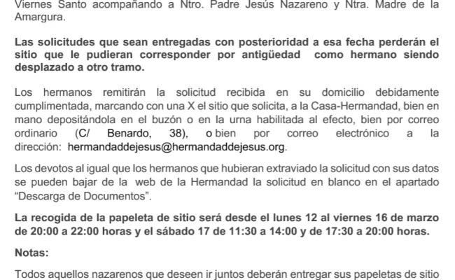 NOTA INFORMATIVA: PAPELETAS DE SITIO 2018