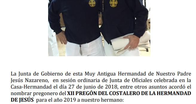 NOMBRAMIENTO PREGÓN DEL COSTALERO PARA EL AÑO 2019