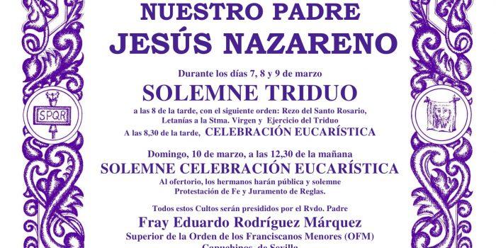 CULTOS A NTRO. PADRE JESUS NAZARENO