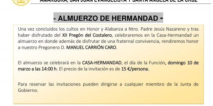 ALMUERZO DE HERMANDAD 2019