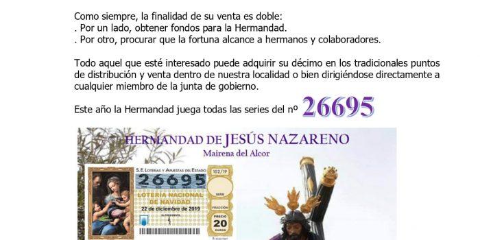 LOTERÍA NAVIDAD HERMANDAD DE JESÚS – 2019