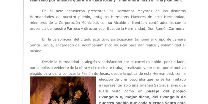 Presentación del Cartel de la Semana Santa de Mairena del Alcor, año 2020