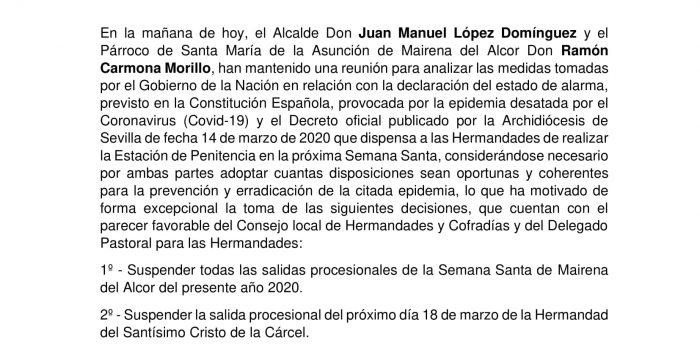 Suspensión Semana Santa Mairena del Alcor 2020