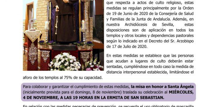Nota informativa sobre la Misa en honor a Santa Ángela