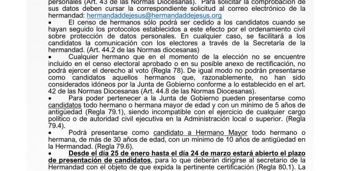 Inicio del proceso electoral para la elección de Hermano Mayor y Junta de Gobierno