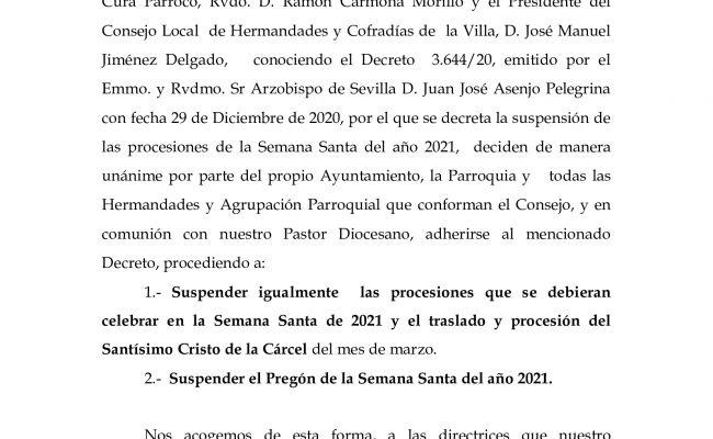 Suspensión de las procesiones de Semana Santa en 2021
