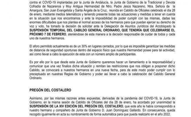 Suspensión temporal del Cabildo General Ordinario 2021 y suspensión del Pregón del Costalero 2021