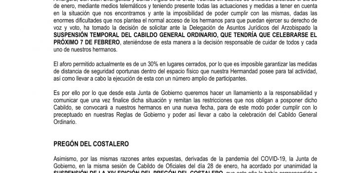 Suspensión temporal del Cabildo General Ordinario 2021 y suspensión del XIV Pregón del Costalero
