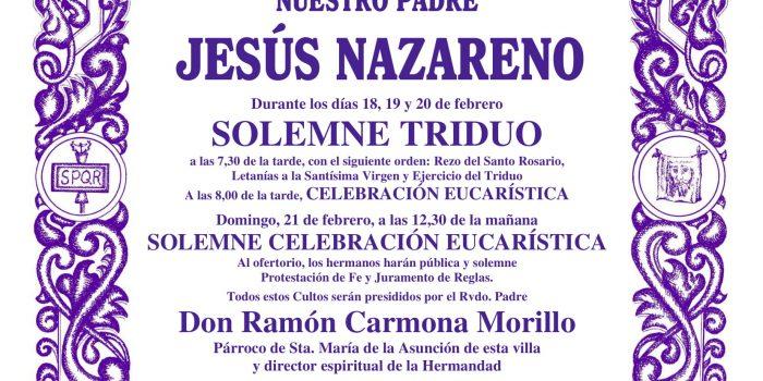 Cultos a Nuestro Padre Jesús Nazareno