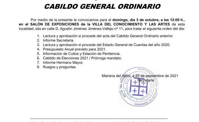 Citación a Cabildo General Ordinario 2021